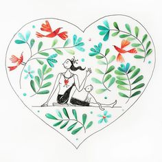 Heart Yoga!. . . . . . . . #yoga #artist #artshow #quotestagram #leaves #illustrator #illustratorsofinstagram #yogadaily #art #sketchbook #scrapbooking #green #drawing #collage #heart #heartshaped #ink #paper #cutpaper #quote #artwork #cats