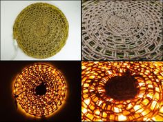 LED Floor Lamp out of crochet technique. Materials- Jute & Yellow LED pipe lights.