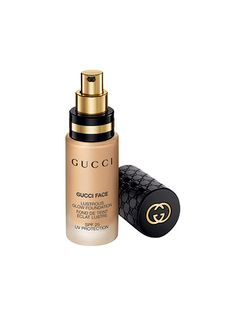 GUCCI LUSTROUS GLOW FOUNDATION For makeup that doesn't look like makeup, this foundation is silky, comes in 18 shades, and a small drop is enough to even out your complexion.