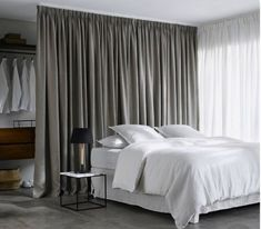 Divide Your Bedroom Spaces With Style - Engineering Discoveries Closet Behind Bed, Curtains Behind Bed, Closet Curtains, Pleated Curtains, Closet Bedroom, Bedroom Storage, Home Bedroom, Master Bedroom, Bedroom Decor