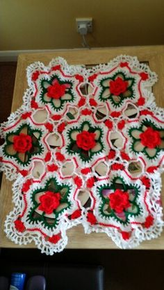 My Roses in snow I crocheted