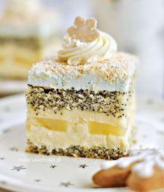 "Ciasto Makowe ""Gwiazdka"" z Kokosem i Ananasem - Sweet Desserts, No Bake Desserts, Sweet Recipes, Baking Recipes, Cake Recipes, Dessert Recipes, Sweets Cake, Cupcake Cakes, Dinner Party Desserts"