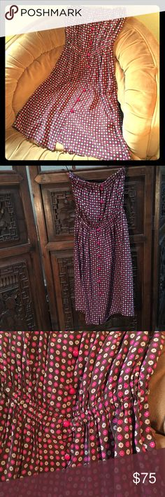 MIGUELINA tube dress MIGUELINA tube purple daisy causal day dress. Has cute round matching purple buttons. Very light feeling and so soft on. Perfect for spring weather. Gentle worn. Miguelina Dresses Strapless