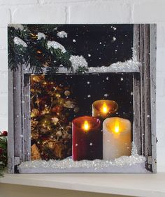 This Holiday Candles Lighted Wrapped Canvas by Ohio Wholesale, Inc. is perfect! Lighted Canvas, Canvas Lights, Holiday Candles, All Things Christmas, Pillar Candles, Wrapped Canvas, Glow, Invitations, Kids