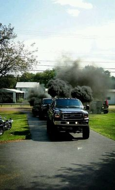Fords rolling coal. Powerstroke