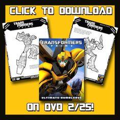 Transformers Prime: Ultimate Bumblebee DVD FREE Printable Activities