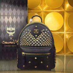 MCM Medium Stark Exclusive M Studded Backpack In Black