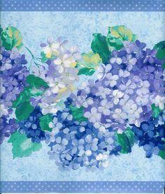 Beautiful Blue and Purple Hydrangeas Wallpaper Border (the border I used in my bathroom - even prettier in person) Hydrangea Wallpaper, Purple Hydrangeas, Wallpaper Borders, Seahorses, Lilacs, Paper Quilling, Shells, Paper Crafts, Bathroom