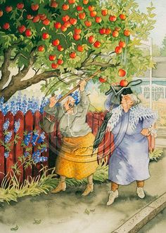 40 Ideas Funny Friends Illustration Inge Look For 2019 Friends Illustration, Illustration Art, Old Lady Humor, Picture Postcards, Pretty Art, Girl Humor, Old Women, Folk Art, Watercolor Paintings