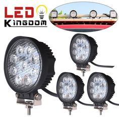 GREAT LED Light Bars! LEDKINGDOMUS 4 X 27W Flood Round Work LED Light Fog Driving DRL Offroad SUV Boat Truck ATV Car - Introduce Tools and Home with benefit for everyone