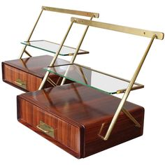 Pair of Rosewood, Brass and Glass Hanging Cabinets attributed to Silvio Cavatorta, ca.1950's