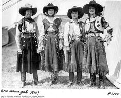 Midway performers dressed as cowgirls, 1913. Photographed by William James.  City of Toronto Archives. #vintage #Edwardian #cowgirls #Canada