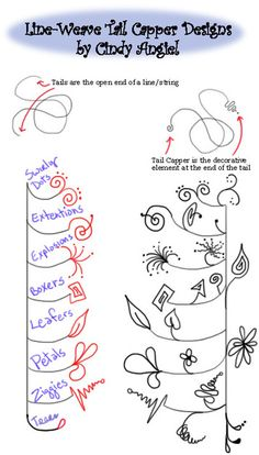 Tail Capper Zendoodles for Line Weavers   Artistic Line Designs-all free   Scoop.it