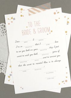 Download this cute mad libs wedding wish. Fun for a bridal shower idea