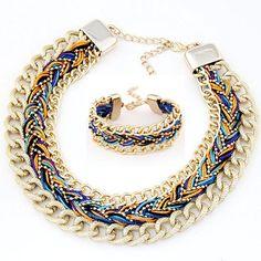 2016 New Bohemia Style Metal Rope Braided Jewelry Sets Statement Necklace Bracelet Set Women Accessories parure bijoux femme