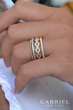 14k Yellow Gold Stackable Women's Diamond Ring