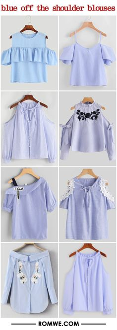 blue off the shoulder blouses 2017 - romwe.com Teen Fashion Outfits, Chic Outfits, Diy Fashion, Ideias Fashion, Girl Outfits, Summer Outfits, Fashion Dresses, Womens Fashion, Blouse Styles
