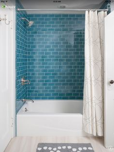 Floor to ceiling subway tile