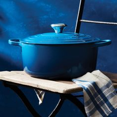 The pleasant blue of Marseille consists of graduated tones, from the delicate hue of the water that reaches the sands, to the deeper blue of the Mediterranean Sea. Cookware Sale, Le Creuset Cookware, Timeless Kitchen, Cooking Supplies, Cast Iron Cookware, Dish Sets, Cook At Home, Small Appliances, Rouge