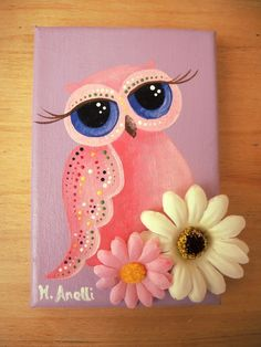 Owl with Big Eyes.  A lovey hand painted owl made with care and detail on a 100% cotton canvas! This charming artwork is an original and unique piece (NOT A PRINT), created with fine quality acrylic paints, mostly in purple, pink, white and blue, and then embellished with two flowers. A lovely example of owl art, perfect as wall decor for girls' bedrooms. This owl painting makes a great present and a last minute gift idea for little girls and teenagers. #owlcanvaspainting