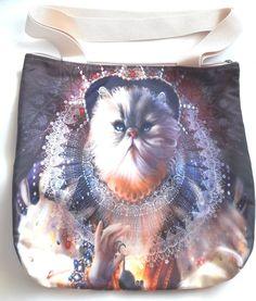 Medieval cat queen pet mouse funny kitty shoulder tote hand bag zipper handmade #Handmade #ShoulderBag