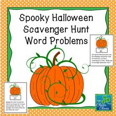 This product includes a variety of sixteen Halloween word problems. The types of questions include:  fractions, decimals, percents, unit rate, average (mean), perimeter, probability (1), geometry (1) and measurement.  A student answer document is included along with an answer key. At the end of the student answer document, there is an opportunity for students to create their own Halloween word problem.  This could be used for grades 5-8 depending on the class