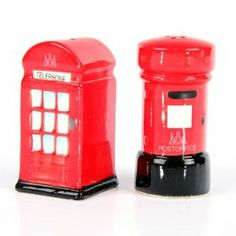 Ceramic London Salt & Pepper Set, Post & Telephone Box by puck. $8.58. Each London Ceramic Salt & Pepper Set has been Exclusively Designed and Produced by Puckator Ltd.Each Post & Telephone Box Salt & Pepper Set is made from ceramic and has been hand painted and finished with a high gloss glaze. On the underneath of the salt cellar and pepper pot is an access hole so they can be filled, a soft plastic bung keeps the contents secure .This item is not Dishwasher Safe.Each...