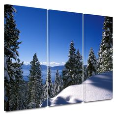 'Lake Tahoe in Winter' by Kathy Yates 3 Piece Photographic Print Gallery-Wrapped on Canvas Set