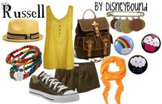 Russell, Disney Bound fashion. Swap the tank for a tee and the shorts for, well, longer shorts. And bam. I'd so wear that. {: