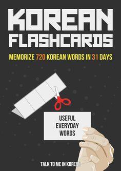 Korean Flashcards: 720 Everyday Words in 31 Days (E-book)