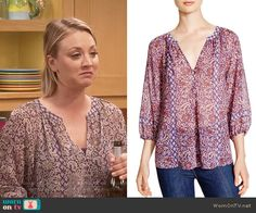 Penny's purple printed blouse on The Big Bang Theory.  Outfit Details: http://wornontv.net/55059/ #TheBigBangTheory