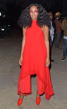 Solange Knowles from The Big Picture: Today's Hot Pics  Red hot! The singer prepares to perform during day two of FYF Fest 2015 L.A.'s Exposition Park.