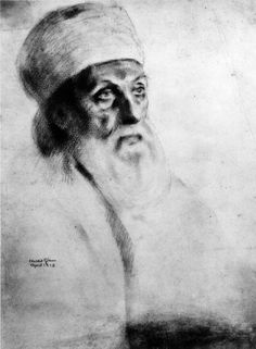 Abdu'l-Bahá only agreed to sit for his portrait before two artists---both in Greenwich Village in 1912. The 1st sitting---for portrait artist Juliet Thompson in her Studio at 48 W. 10th. The 2nd sitting---for her friend & artist Khalil Gibran (this is his portrait) in his studio across the street at 51 W. 10th. Gibran, born in Lebanon, also acted as translator for several of 'Abdu'l-Bahá's interviews during his visit to N.Y.C. in 1912