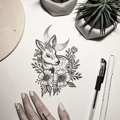 0dc3656d937f7 Floral fawn Free tattoo design. #terryemi Fawn Tattoo, Bambi Tattoo, Doe  Tattoo