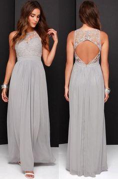 Grey bridesmaid dress,2016 bridesmaid dress,Long bridesmaid dress,Lace and chiffon bridesmaid dress,backless bridesmaid dress,