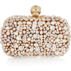 Alexander McQueen Pearl Skull brass box clutch ❤ liked on Polyvore