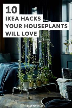 10 IKEA hacks that are just for your plants! Show your houseplants some love with these creative IKEA hacks. Plant stands, hanging planters, painted planter baskets and more great IKEA hacks you can make yourself! Herb Planters, Hanging Planters, Ikea Plants, Indoor Plants, Painting Ikea Furniture, Ikea Kallax Hack, Ikea Makeover, Best Ikea, Plant Stands