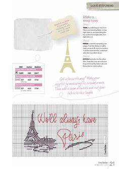 Cross Stitch Kitchen, I Love Paris, Le Point, Cross Stitch Embroidery, Sewing, How To Make, Fabric, Culture, Country