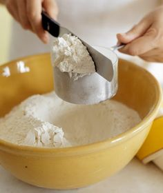 Measure the Flour Properly                          Spoon flour into a dry measuring cup, then sweep off the excess with a knife. Don't scoop it directly from the bag with a                             measuring cup. The flour will become compacted, and you'll get more than you need for the recipe.