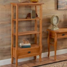 Traditional Three-Shelf Bookcase With Drawer Home Furniture Antique Pine Finish