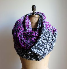 Chunky Knit cowl. Radiant Orchid. Fushia. Purple. by Happiknits, $120.00