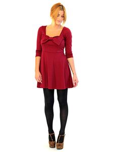 Maroon Bow Dress - Lotus Boutique $15