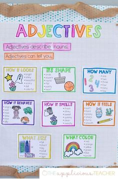 Anchor Chart Adjectives anchor chart - love this anchor chart to display while learning about adjectives!Adjectives anchor chart - love this anchor chart to display while learning about adjectives! Adjective Anchor Chart, Grammar Anchor Charts, Anchor Charts First Grade, Kindergarten Anchor Charts, Writing Anchor Charts, In Kindergarten, Teaching English Grammar, English Grammar Worksheets, English Writing Skills