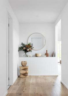 Interior designer Kristy Spencer shares how she transformed an old weatherboard cottage into a coastal escape near the Blue Mountains in Glenbrook, NSW. Hallway Ideas Entrance Narrow, Modern Hallway, Entry Hallway, Flur Design, Open Plan Living, House And Home Magazine, Home Decor Inspiration, Decor Ideas, Home Interior Design