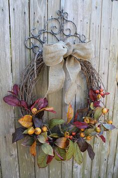 27 inch Fall Grapevine Wreath with Burlap Bow by SuzyPetalPusher