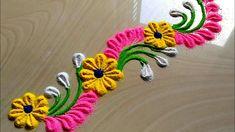 Beautiful Border Rangoli Designs for Doors & Side Wall, बॉर्डर रंगोली डिज़ाइन Rangoli Side Designs, Easy Rangoli Designs Diwali, Rangoli Simple, Rangoli Designs Latest, Simple Rangoli Designs Images, Free Hand Rangoli Design, Small Rangoli Design, Rangoli Patterns, Rangoli Ideas