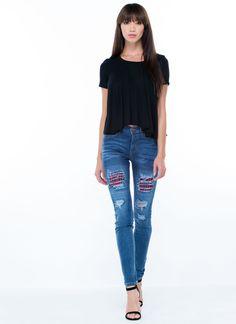 Gone Plaid Shredded Skinny Jeans