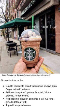 Iced Starbucks Drinks, Starbucks Hacks, Starbucks Menu, Coffee Drinks, Starbucks Coffee, Iced Coffee, Frappuccino Recipe, Starbucks Frappuccino, Fererro Rocher
