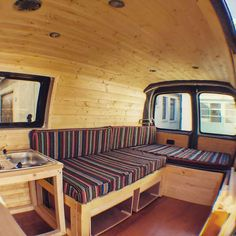 Nice simplicity for a van build. The bed would be perfect for bringing a bunch of friends on a road trip. #vanlife