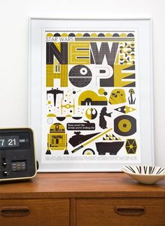 yellow, #colortrend, star wars, decorating, kids room, mid-century modern, furniture, poster, vintage, etsy, scandanavia, by katharine
